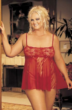 Hot Lingerie Sheer Lace Babydoll (Plus Size) - Red